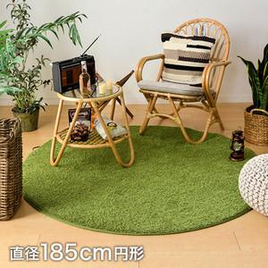 萩原 ラグカーペット 芝生風ファブリック シーヴァ 直径185cm円形 (折り畳み配送)