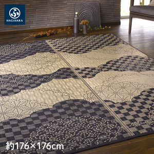 萩原 い草センターラグ(裏貼り) WATSUMUGI 約176×176cm