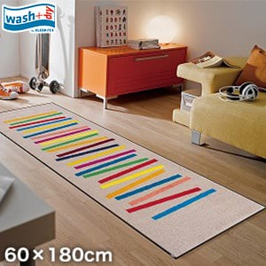 KLEEN-TEX 屋外屋内両用ラグマット Wash + Dry Mixed Stripes 60×180cm