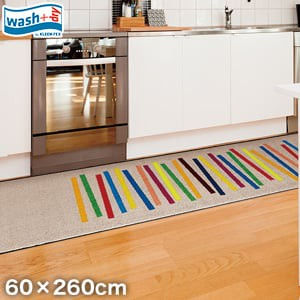 KLEEN-TEX 屋外屋内両用ラグマット Wash + Dry Mixed Stripes 60×260cm