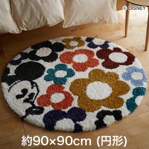スミノエ ディズニーラグマット MICKEY/Hide in flower RUG(ハイドインフラワーラグ) 約90×90cm (円形)
