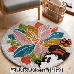 スミノエ ディズニーラグマット MICKEY/With flower RUG(ウィズフラワーラグ) 約90×90cm (円形)