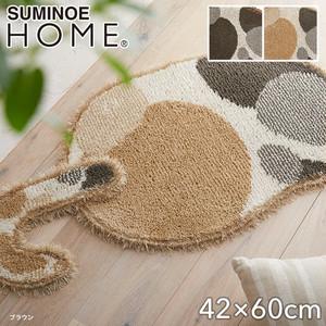 【消臭】スミノエ ラグマット HOME ブチマル 42×60cm(変形)