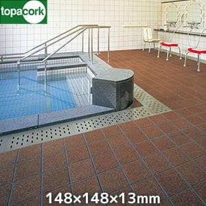 東亜コルク 浴室用コルクタイル バスコ (無塗装)浴室フロア用 148X148X13mm(面取)