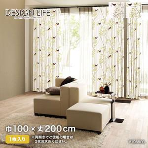 カーテン 既製サイズ スミノエ DESIGNLIFE MIKINIKOTORI(ミキニコトリ) 巾100×丈200cm