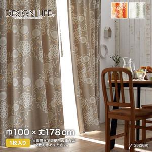 カーテン 既製サイズ スミノエ DESIGNLIFE HANAZAKARI(ハナザカリ) 巾100×丈178cm