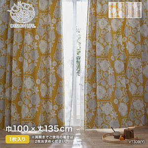 カーテン 既製サイズ スミノエ DESIGNLIFE hjarta IHANA(イハナ) 巾100×丈135cm
