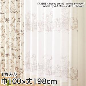 ディズニーファン必見!スミノエ Disney レースカーテン POOH/ Secret(シークレット) 巾100×丈198cm