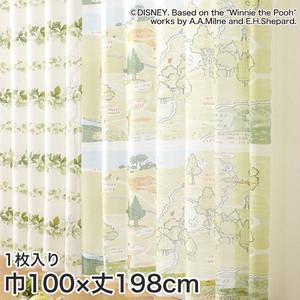 ディズニーファン必見!スミノエ Disney レースカーテン POOH/ 100エーカーの森 巾100×丈198cm