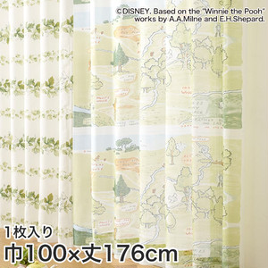 ディズニーファン必見!スミノエ Disney レースカーテン POOH/ 100エーカーの森 巾100×丈176cm