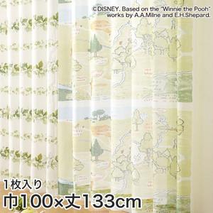 ディズニーファン必見!スミノエ Disney レースカーテン POOH/ 100エーカーの森 巾100×丈133cm