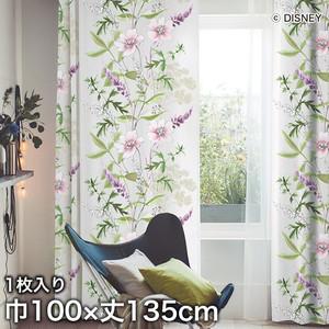 ディズニーファン必見!スミノエ Disney 既製カーテン MICKEY/ Wild flower(ワイルドフラワー) 巾100×丈135cm