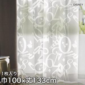 ディズニーファン必見!スミノエ Disney レースカーテン ALICE/ Clock(クロック) 巾100×丈133cm