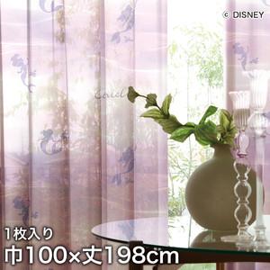 ディズニーファン必見!スミノエ Disney レースカーテン PRINCESS/ Aqua(アクア) 巾100×丈198cm