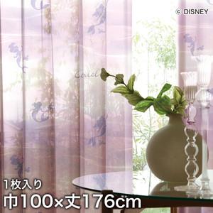 ディズニーファン必見!スミノエ Disney レースカーテン PRINCESS/ Aqua(アクア) 巾100×丈176cm
