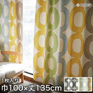 ディズニーファン必見!スミノエ Disney 既製カーテン MICKEY/ Dot ring(ドットリング) 巾100×丈135cm