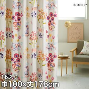ディズニーファン必見!スミノエ Disney 既製カーテン MICKEY/ Flower vase Mickey with Minnie(フラワーベースウィズMN) 巾100×丈178cm