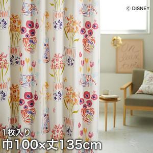 ディズニーファン必見!スミノエ Disney 既製カーテン MICKEY/ Flower vase Mickey with Minnie(フラワーベースウィズMN) 巾100×丈135cm