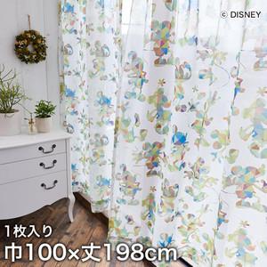 ディズニーファン必見!スミノエ Disney レースカーテン MICKEY/ Checked silhouete(チェックシルエット) 巾100×丈198cm