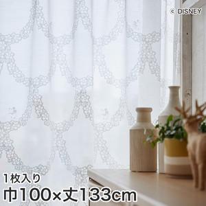 ディズニーファン必見!スミノエ Disney レースカーテン MICKEY/ flower wreath(フラワーリース) 巾100×丈133cm