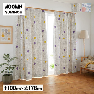 カーテン 既製サイズ スミノエ MOOMIN カラーサークル 巾100×丈178cm 1枚入
