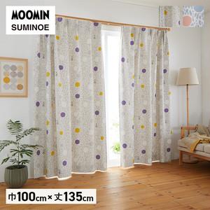 カーテン 既製サイズ スミノエ MOOMIN カラーサークル 巾100×丈135cm 1枚入