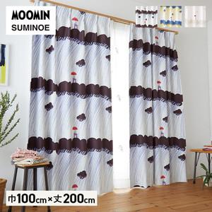 カーテン 既製サイズ スミノエ MOOMIN レインドロップス 巾100×丈200cm 1枚入