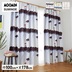 カーテン 既製サイズ スミノエ MOOMIN レインドロップス 巾100×丈178cm 1枚入