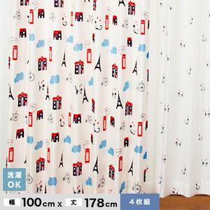 大ブームのネコ柄 【4Pにゃんゼリーゼ】 4枚組既製カーテン 幅100cm×丈178cm