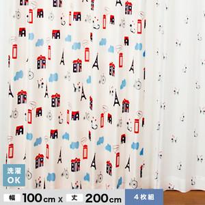 大ブームのネコ柄 【4Pにゃんゼリーゼ】 4枚組既製カーテン 幅100cm×丈200cm