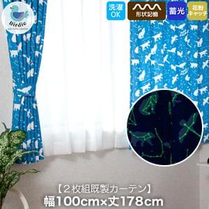 キッズカーテン Birdieシリーズ ふしぎのくにカーテン 【おほしさまBL】 形状記憶 花粉対策 蓄光 既製カーテン2枚組 幅100cm×丈178cm