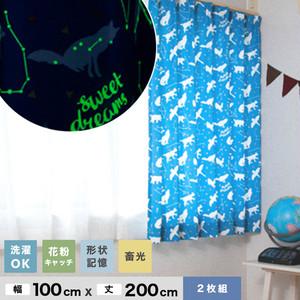キッズカーテン Birdieシリーズ ふしぎのくにカーテン 【おほしさまBL】 形状記憶 花粉対策 蓄光 既製カーテン2枚組 幅100cm×丈200cm