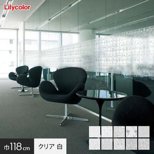 ガラスフィルム 窓の保護や目隠しに リリカラ Digital DECO MORRIS & Cc. 巾118cm クリアタイプ 白