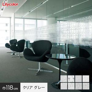 ガラスフィルム 窓の保護や目隠しに リリカラ Digital DECO MORRIS & Cc. 巾118cm クリアタイプ グレー