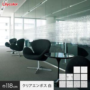 ガラスフィルム 窓の保護や目隠しに リリカラ Digital DECO MORRIS & Cc. 巾118cm クリアエンボス 白