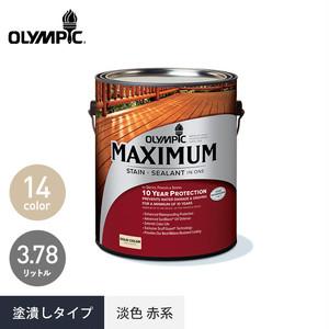 外装用木材保護塗料 オリンピックマキシマム ソリッド 塗潰しタイプ 赤系 3.78L