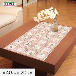 明和グラビア ビニール製 テーブルランナー マイパールレース ロングレース 40cm幅×20m巻 M-498