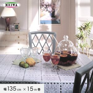 明和グラビア ビニール製 テーブルクロス マイパールレース ロングレース 135cm幅×15m巻 M-709