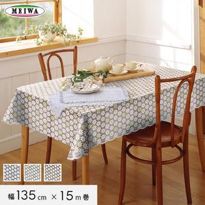 明和グラビア ビニール製 テーブルクロス マイパールレース ロングレース 135cm幅×15m巻 M-723
