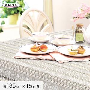 明和グラビア ビニール製 テーブルクロス マイパールレース ロングレース 135cm幅×15m巻 M-731