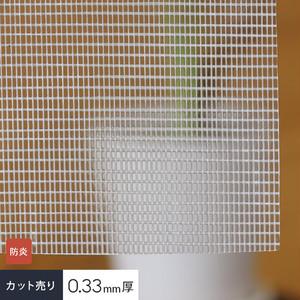 【カット販売】 糸入り透明 ビニールカーテン生地 防炎・目隠しターポリン E-6335