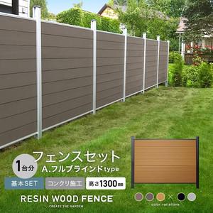 人工木フェンス RESTA RESIN WOOD FENCE コンクリート施工 【基本セット】 A.フルブラインドtype H1300mm