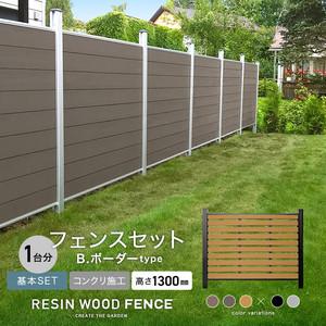 人工木フェンス RESTA RESIN WOOD FENCE コンクリート施工 【基本セット】 B.ボーダーtype H1300mm
