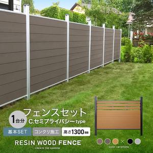 人工木フェンス RESTA RESIN WOOD FENCE コンクリート施工 【基本セット】 C.セミプライバシーtype H1300mm