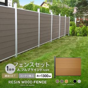 人工木フェンス RESTA RESIN WOOD FENCE コンクリート施工 【連結セット】 A.フルブラインドtype H1300mm