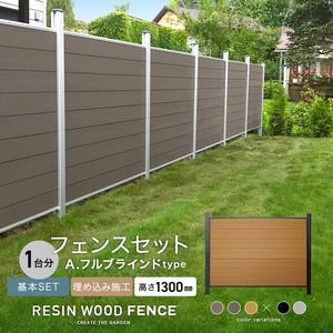 人工木フェンス RESTA RESIN WOOD FENCE 埋め込み施工 【基本セット】 A.フルブラインドtype H1300mm