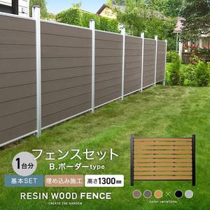 人工木フェンス RESTA RESIN WOOD FENCE 埋め込み施工 【基本セット】 B.ボーダーtype H1300mm