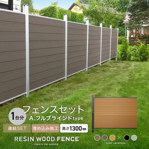 人工木フェンス RESTA RESIN WOOD FENCE 埋め込み施工 【連結セット】 A.フルブラインドtype H1300mm