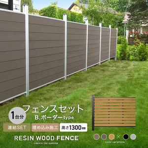 人工木フェンス RESTA RESIN WOOD FENCE 埋め込み施工 【連結セット】 B.ボーダーtype H1300mm