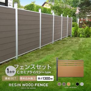 人工木フェンス RESTA RESIN WOOD FENCE 埋め込み施工 【連結セット】 C.セミプライバシーtype H1300mm